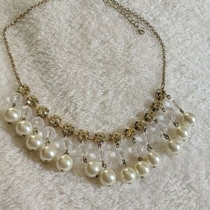 {forever 21} pearl and stone statement necklace